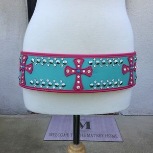 "3"" Wide Genuine Leather PINK Cowgirl Belt"